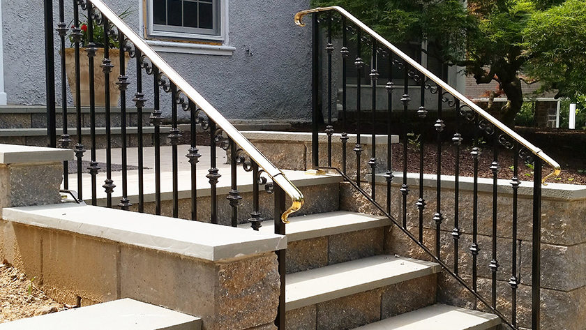 E5 Exterior Iron Brass Railing